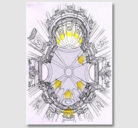 Schizzo della cupola (proiezione luci) del Santuario di Sommariva del Bosco